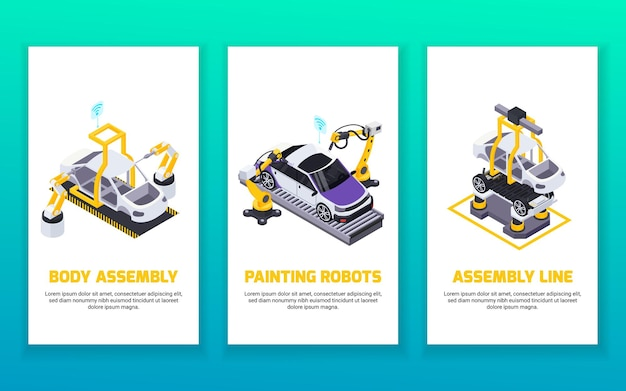 Electric vehicle production isometric vertical banners set with automated robotic arms assembly line and painting robots