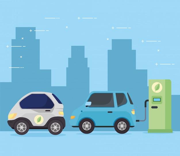 Электромобили автомобили в зарядной станции дороги