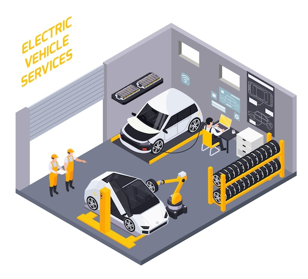 Electric vehicles maintenance  diagnostic battery charge and rejuvenation service isometric composition with robotic wheels replacement