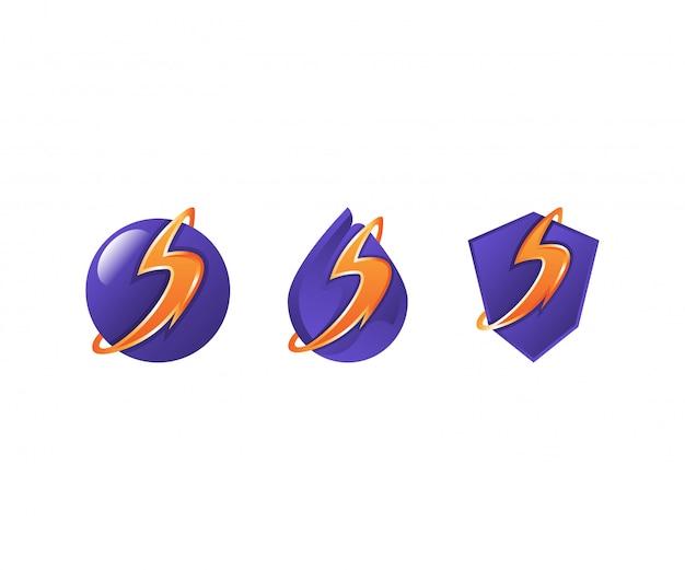 Electric volt logo set