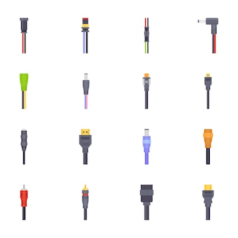 Electric wires flat icons
