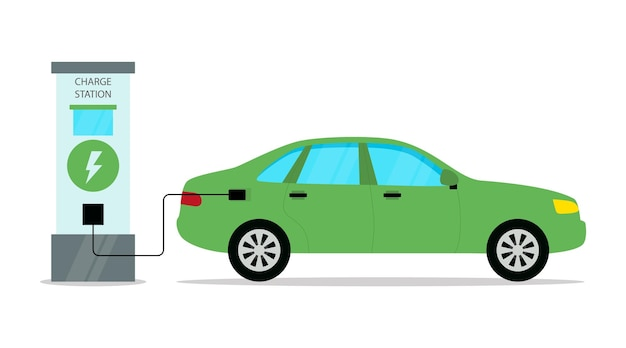 만화 플랫 스타일의 전기 자동차 충전소 개념 설명.