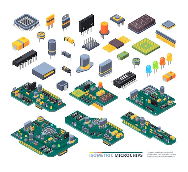 電気ボードはアイソメトリックです。ハードウェアアイテムコンピュータパワーダイオード半導体および小型チップ機器セット。