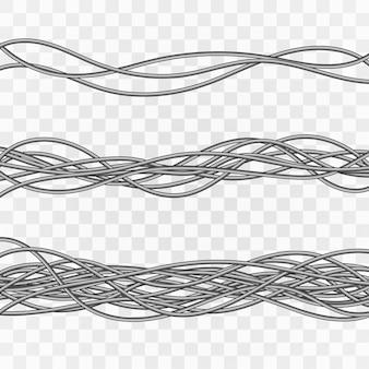 電気ケーブル。灰色の工業用ワイヤー。透明な背景に電気ケーブル。