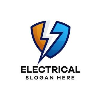電気のカラフルなグラデーションのロゴデザイン