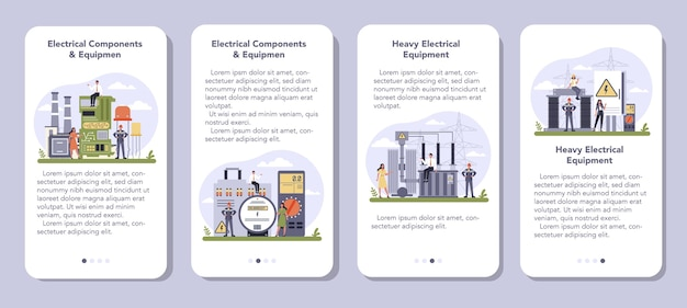 電気部品および機器業界のモバイルアプリケーションバナーセット