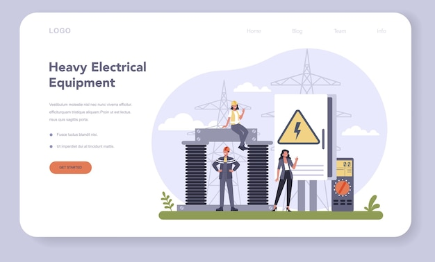 Electrical components and equipment industry web banner or landing page