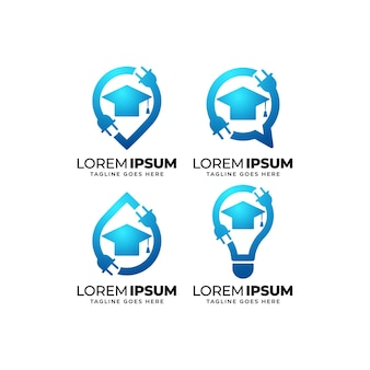 Electrical education logo design set