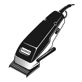 Electrical hair clipper or shaver illustration in monochrome vintage style