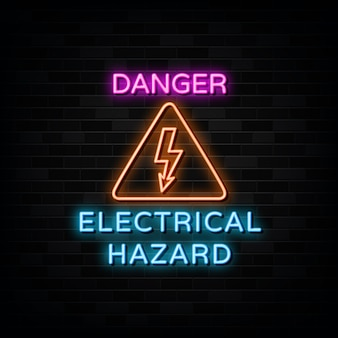 Electrical hazard neon signs design template neon style