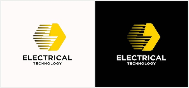 Логотип технологии электротехнической промышленности. логотип силы. с молнией и темным фоном.
