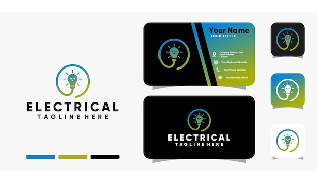 웃는 표정 로고와 명함 디자인 벡터 템플릿이 있는 전기 램프