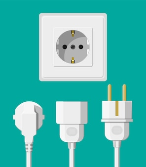 Electrical outlet with several connected cables. electrical components. wall socket with plugs. vector illustration in flat style