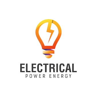 Electrical power energy with bulb gradient logo design template
