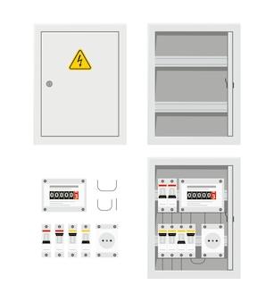 Панель электрического переключателя с открытой и закрытой дверью. блок предохранителей.