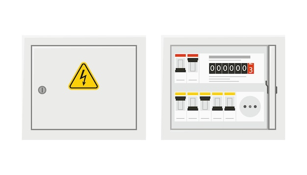 Панель переключателя электропитания с открытой и закрытой дверью