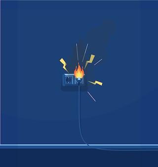 電気短絡セミrgbカラーイラスト。電気設備。配線不良。暗い青色の背景に電気と火災保護漫画オブジェクト Premiumベクター