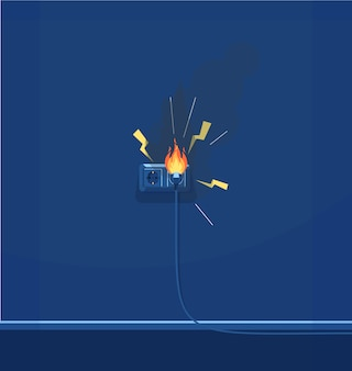 Electrical short circuit semi  rgb color  illustration. electrical equipment. faulty wiring. electricity and fire protection  cartoon object on dark blue background