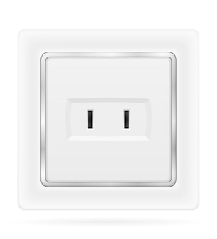 Electrical socket outlet for indoor electricity wiring isolated on white