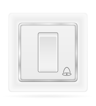 Electrical switch bell for indoor electricity wiring isolated on white