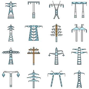 Электрическая башня значок набор, стиль контура