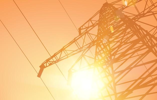 夕日を背景に送電線。