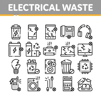 Electrical waste tools collection icons set