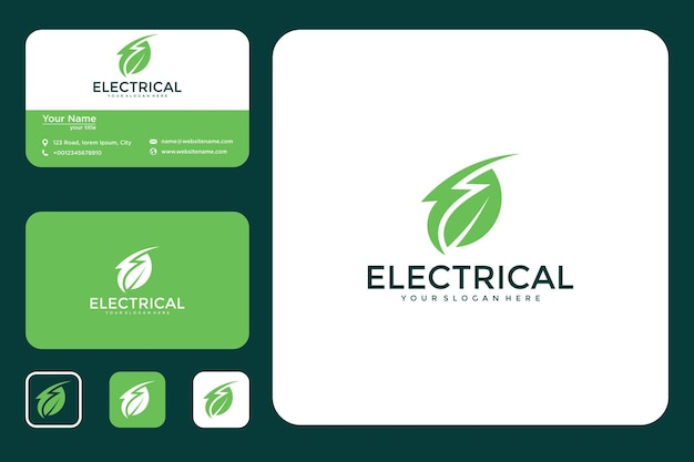 葉のデザインのロゴと名刺と電気