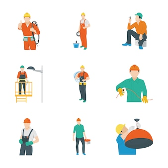Electrical worker icons