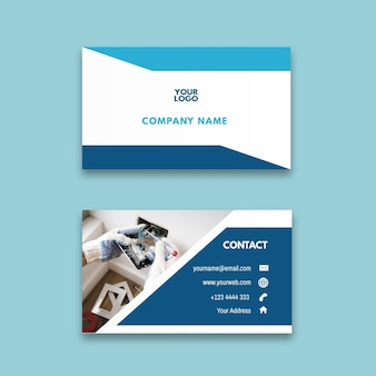 Electrician ad horizontal business card template