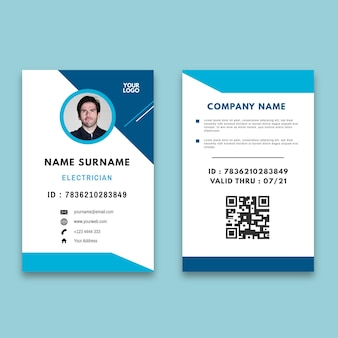 Electrician ad id card template