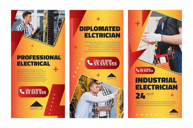 電気技師の広告インスタグラムストーリーテンプレート