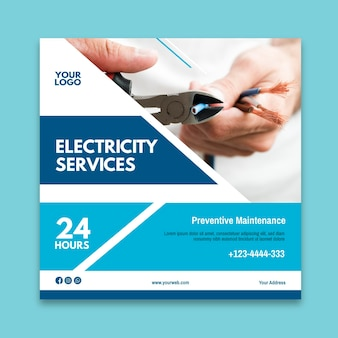 Electrician ad square flyer template