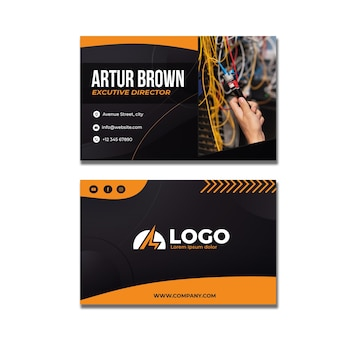 Electrician business card template with photo