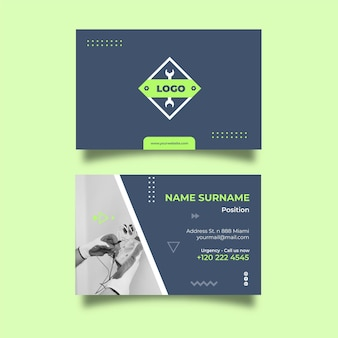 Electrician double-sided horizontal business card template