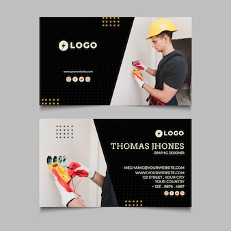 Electrician double-sided horizontal business card