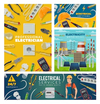 Electrician and electrical tools, power industry
