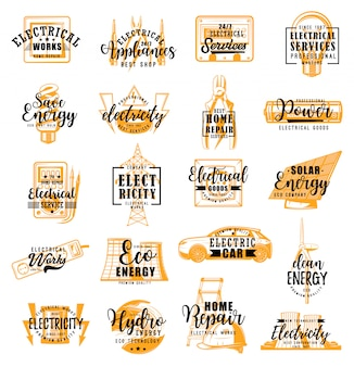 Electrician, electricity service lettering icons