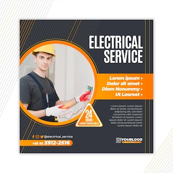 Electrician flyer square template