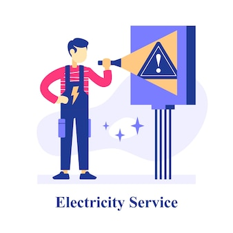 Electrician holding flashlight, switch room plan inspection, electrical equipment or system maintenance, electricity repair service man, solving electric problem, fixing power outage