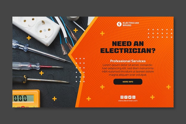 Electrician horizontal banner template