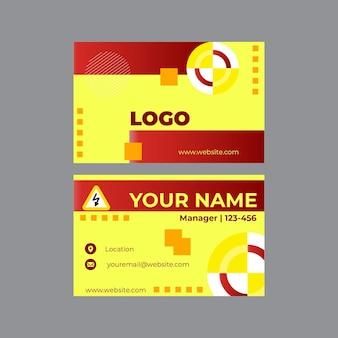 Шаблон горизонтальной визитной карточки электрика