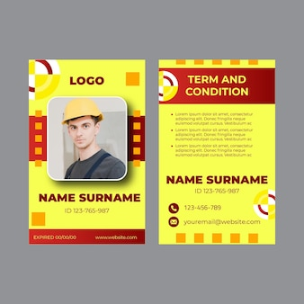 Electrician id card set template