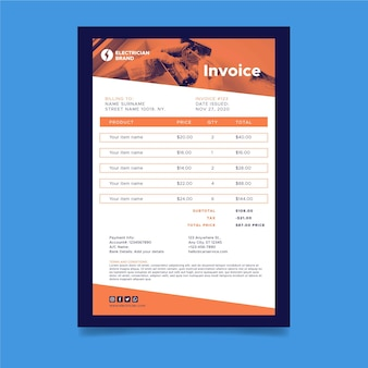 Electrician invoice template with costs