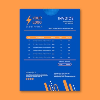 Electrician invoice template