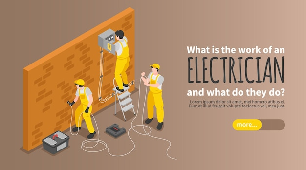 Electrician isometric banner with equipment work and service