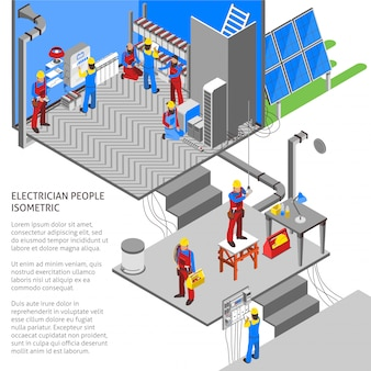 Electrician isometric composition