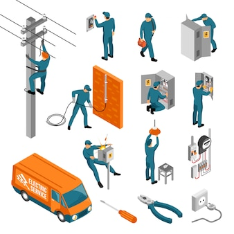 Electrician isometric icons collection