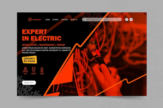 Modello di pagina di destinazione per elettricista