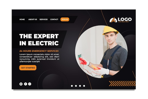 Modello di pagina di destinazione dell'elettricista
